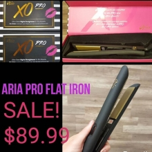 Aria XO Pro makes straightening or curling fast and easy.  Infrared heat reduces damage and boosts shine, while ionic technology stops frizz. Digital; adjustable to 450° 1 Tourmaline- titanium plates  Dual voltage - take it anywhere For all hair types.