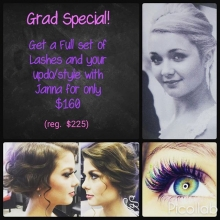 Grad Special!  We want you to feel beautiful on your grad day.  Tag or share with a grad you know!  Spots are limited  so book now. 306-790-9111 #crimsonhairdesign #gradspecial #reginasalon #lashextensions #yqrhair #yqrsalon #updo