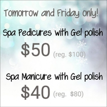It's the season for holiday parties. Gel polish is cured with an LED light and requires no drying time. Plus it stays shiny and chip free longer than regular polish.. Spots are limited. Call the salon to book.  306-790-9111