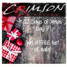Another give away today!  Crimson is offering you a chance to win a free set of gel nails! . HOW TO ENTER . Follow us and like this post . Tag at least 2 friends.  You will get 1 bonus entry if you tag more. . *no cash value * cannot be redeemed for other