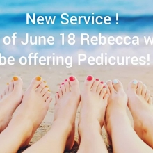 Book in now to get your toes ready for summer.  Pedicures will all include paraffin, a scrub and relaxing massage.  Plus, the price includes your choice of gel polish or a regular polish to take home with you. ($70 plus gst)