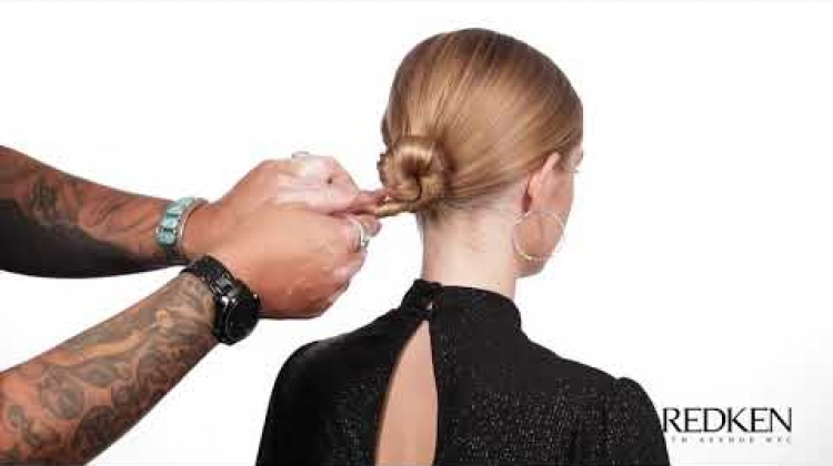 Low Chignon Holiday Hair created with Redken's Tripletake32 High hold spray
