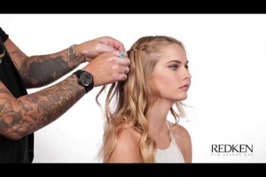 Holiday Half Updo Braid with Redken's Iron Shape 11 thermal holding spray